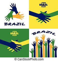 Set of vector colorful hands icons using Brazil flag colors
