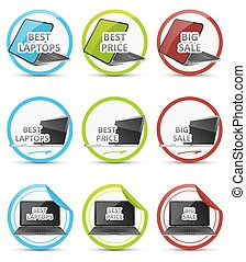 Set of vector colorful icons with black notebook.