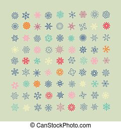 Set of vector colorful snowflakes icons. New Year and Christmas holidays design elements