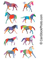 Set of vector colorful trotting horses silouettes