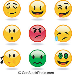 Set of vector cool smiles - cool variety set of emoticons. ...