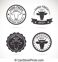 Set of vector cow labels on white background. Farm Animal.
