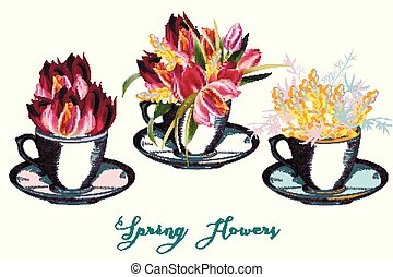 Set of vector cups with flowers