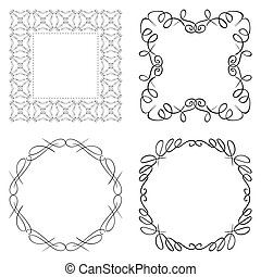 set of vector curly frames