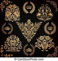 Set of vector damask ornaments. - Set of gold damask...