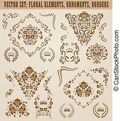 Set of vector damask ornaments.