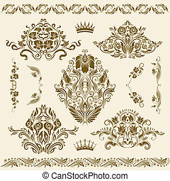 Set of vector damask ornaments. Floral elements, borders, ...