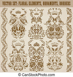 Set of vector damask ornaments. Floral elements, borders,...
