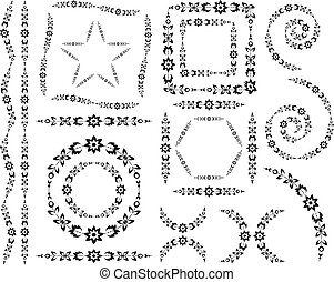Set of vector decorative elements and brush