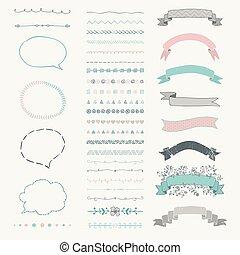 Set of Vector Decorative Hand Drawn Design Elements