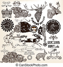 Vector set of calligraphic elements for hunting design