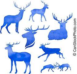 Set of vector deer
