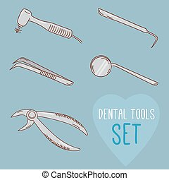 Set of vector dental tools. Cartoon style. Teeth treatment...