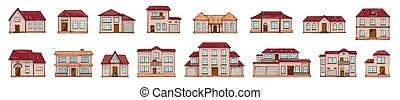 Set of vector different houses, cartoon scribble style.
