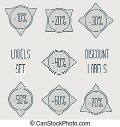 Set of vector discount labels.