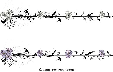 dividers with flowers of viola - set of vector dividers with...
