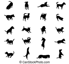 Set of vector dogs silhouettes