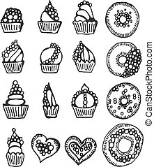 Set of vector doodle sweets