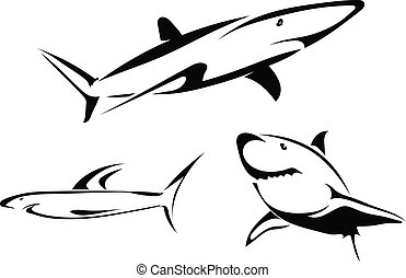 Set of vector drawings of sharks