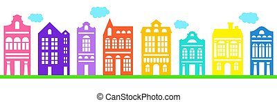 Set of vector dutch house for concept design. Facade of house in the traditional Dutch style. Amsterdam old building cartoon facade. Traditional architecture of Netherlands. Colorful isolated illustration.