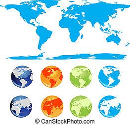 Set of vector earth glossy globe