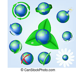 Set of vector Earth icons
