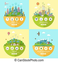 Set of vector ecology illustrations in flat style