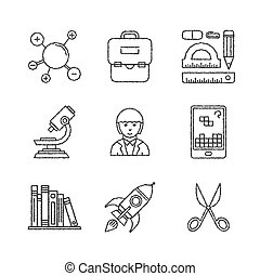 Set of vector education icons in sketch style