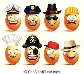 Set of vector egg faces of professionals with caps in emotions and facial expressions