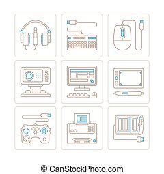 Set of vector electronics icons and concepts in mono thin line style