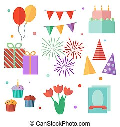 set of vector elements, birthday,