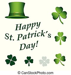 set of vector elements for saint patricks day - hat, clovers, text