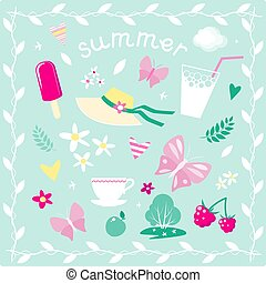 Set of vector elements on the theme of summer