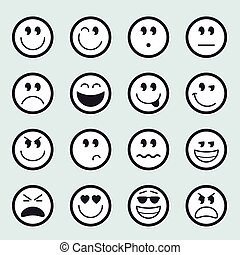 Set of vector emoticons icons - Set of vector emoticon icons