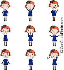 Set of Vector Emotions Character in Flat Style.