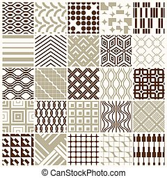 Set of vector endless geometric patterns composed with different figures like rhombuses, squares and circles. 25 graphic tiles with ornamental texture can be used in textile and design.