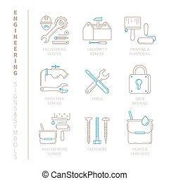 Set of vector engineering icons and concepts in mono thin line style