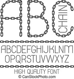 Set of vector English alphabet letters, abc isolated. Upper case decorative font created using metal connected chain link.