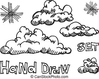 Set of vector engraving clouds eps8