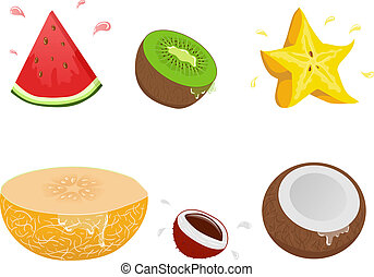 Set of vector exotic fruits