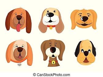 Set of vector faces of different dog breeds