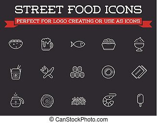 Set of Vector Fastfood Fast Food Elements Icons and...