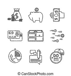 Set of vector financial icons in sketch style