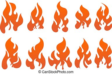 Set of vector fires isolated on white