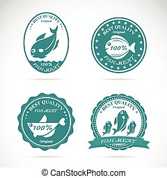 Set of vector fish labels on white background