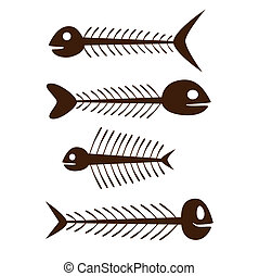 fish skeleton - set of vector fish skeleton - brown on the...