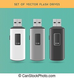 Set Of Vector Flash Drives