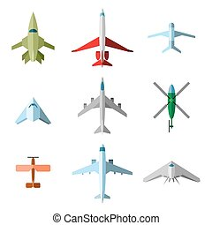 Set of vector flat airplane