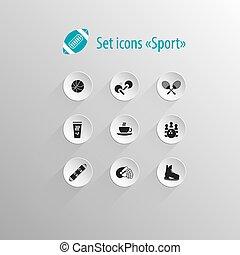 Set of vector flat black icon sport