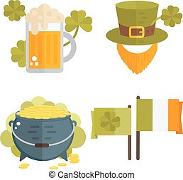 Set of vector flat cons for St.Patricks day